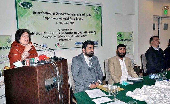 Director General Pakistan National Accreditation Council MoS & T Ms. Ismat Gul Khattak addressing at Media Awareness Seminar on