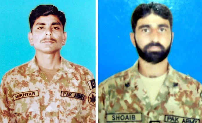 File photos of Mukhtar and Shoaib who embraced shahadat as Indian troops committed unprovoked ceasefire violation in Satwal Sector along LOC. Pakistan army responded effectively to Indian firing, causing substantial damage to Indian troops in men and material