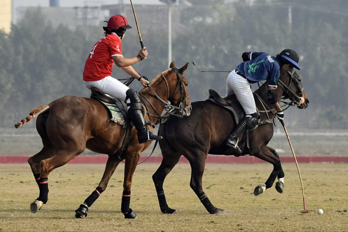 A view of match between JPCC Colts and LGPC Service Tyres during Under-19 Polo Cup 2020-21 at Jinnah Polo and Country Club