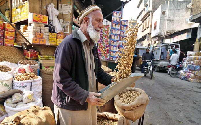 An elderly labourer busy in cleaning peanut at his shop in Ganj Mandi