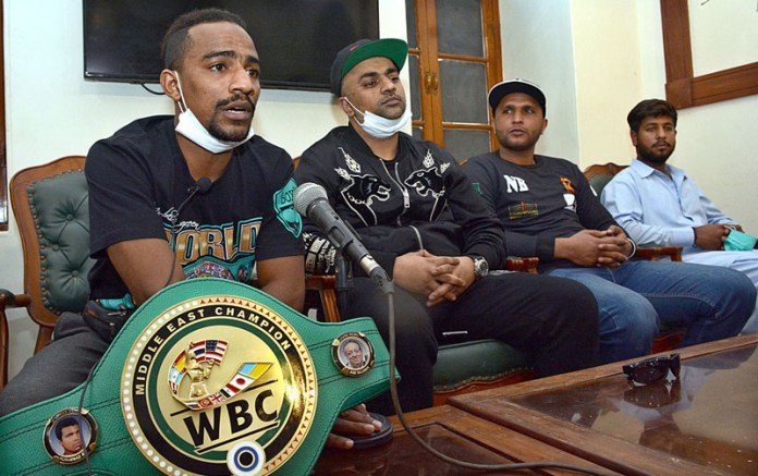 WBC Middle East title holder Nadir Baloch addressing a press conference at Press Club