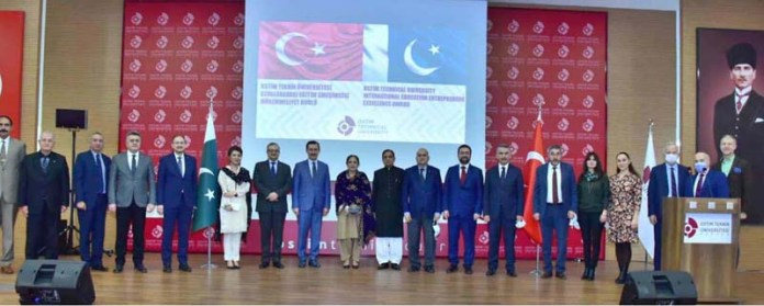 "A group photograph of Pakistan Ambassador to Turkey Syrus Qazi as Turkey's leading OSTIM Technical University conferred the first ever ""International Education Entrepreneur Excellence Award"" upon Syed Ghalib Raza Gillani, Director, Pakistan Embassy School Ankara at a prestigious ceremon"