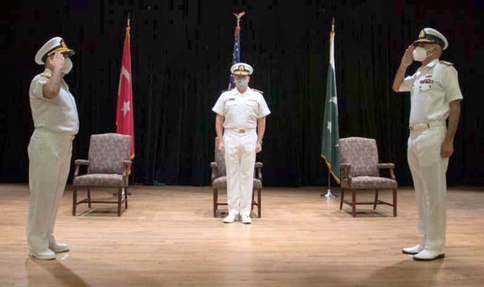 Commodore Abdul Munib of Pakistan Navy during Change of Command Ceremony of Combined Task Force (CTF)-151 at HQs Combined Maritime Force Bahrain. Pakistan Navy took over the Command of CTF-151 for the 9th time