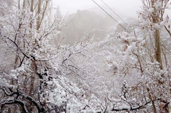 An attractive and eye catching view of first snow fall in the area to mark the winter in district Kharmang skardu