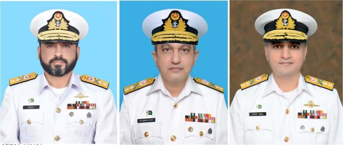 (File Photo) Commodore Muhammad Sohail Arshad, Commodore Salman Ilyas and Commodore Javed Iqbal promoted to the rank of Rear Admiral