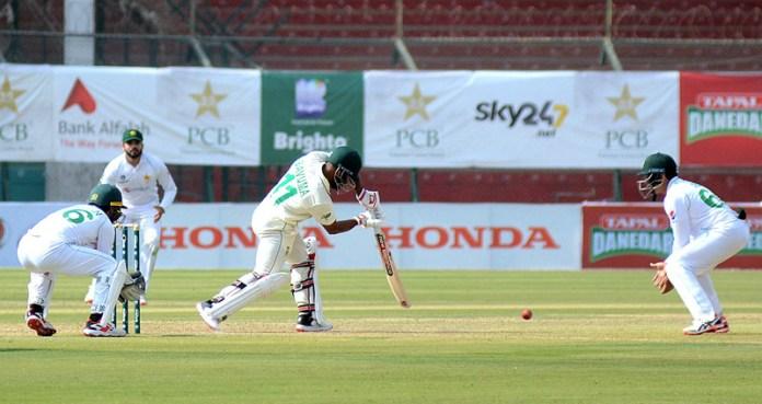 South Africa batsman Temba Bavuma batting during first day of first test match between Pakistan and South Africa cricket teams at National Stadium