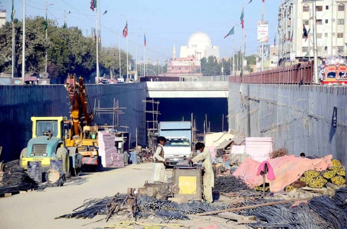 A view of construction of an underpass being built near Mazar-e-Quaid on M.A Jinnah road in connection with Green Line Bus Rapid Transit project