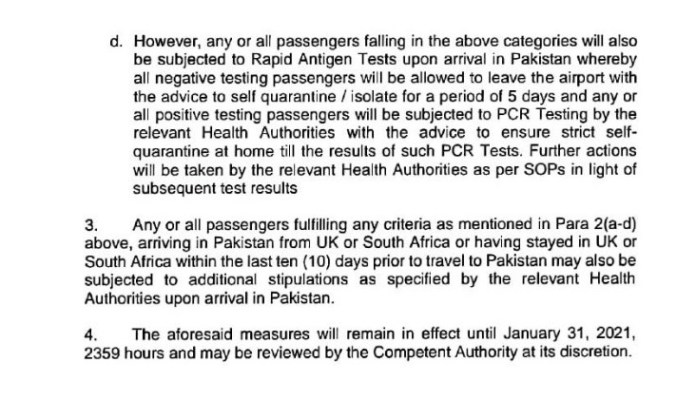 Travel Advisory by CAA Pakistan for passengers from the UK, South Africa