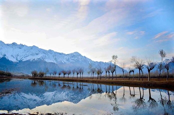 An attractive and eye catching view of Katpa Desert Lake in the mountain area of Pakistan