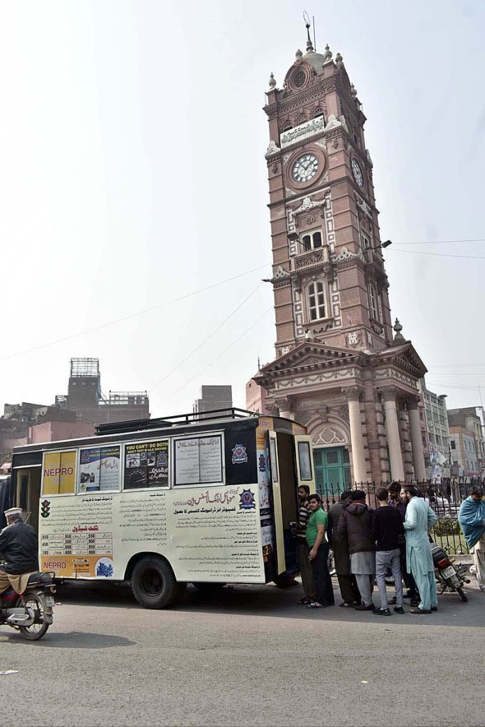 City Traffic Police providing driving license facilities through mobile van at Chowk Clock Tower