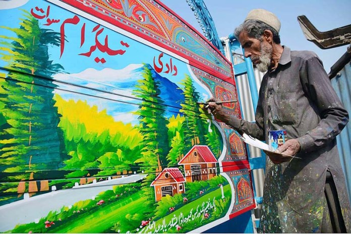 71-year old Khalid, an artist and painter paints the body of a delivery trucks and other vehicles with oil-paints since last 57 years at a very cheap labour to support his family. At present, he is charging only Rs 1250 for 10 hours labour of painting and designing a full truck body. From painting scenic, landscapes to animal pictures or personalities