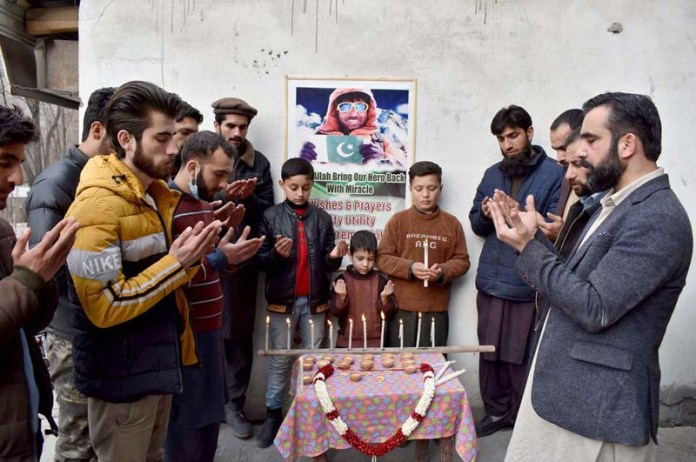 Member of Civil Society offering dua for safe return of National Hero Climber Ali Sadpara and his team missing during K2 Winter Expedition 2021