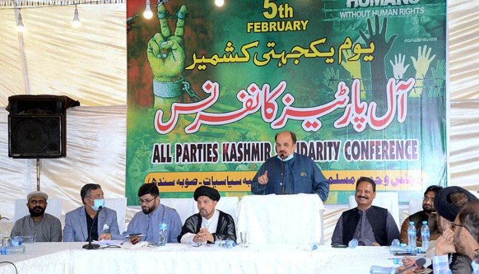 PTI Provincial Assembly of Sindh and Former Leader of the Opposition Syed Firdous Shamim Naqvi addressing All Parties Kashmir Solidarity Conference organized by Majlis Wahdat-e-Muslimeen Pakistan (MWM) at Karachi Press Club
