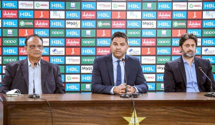 PCB Chief Executive Wasim Khan addressing a press conference about the postponement of the Pakistan Super League 6 at National Stadium