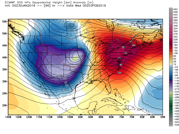 European Model 500 MB Height Anomalies