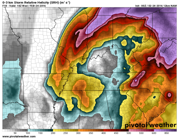 NAM 12 KM Model Storm Relative Helicity