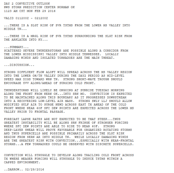 Storm Prediction Center Discussion