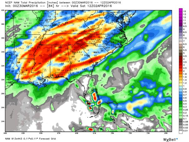 NAM 12 KM Model Total Rainfall