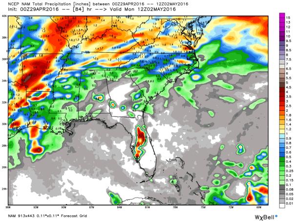 NAM 12 KM Model Rainfall Forecast Up To 8 AM Monday