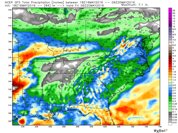 GFS Model Rainfall Forecast Next 84-Hours
