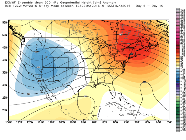 European 51-Member Ensembles MEAN 500 MB Height Anomalies