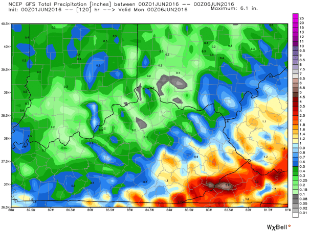 GFS Model Total Rainfall Forecast Next 5 Days