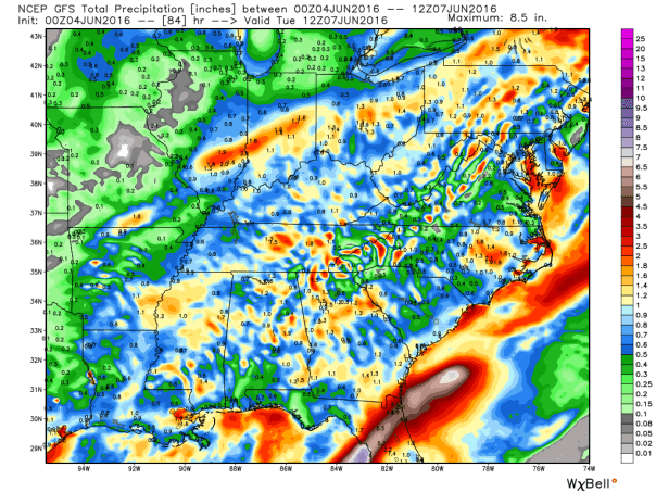 GFS Model Total Rainfall Forecast Next 84-Hours