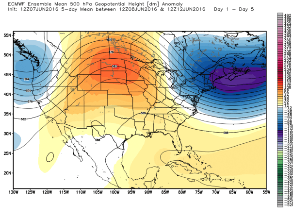 European 51-Member Ensemble 500 MB Height Anomalies MEAN