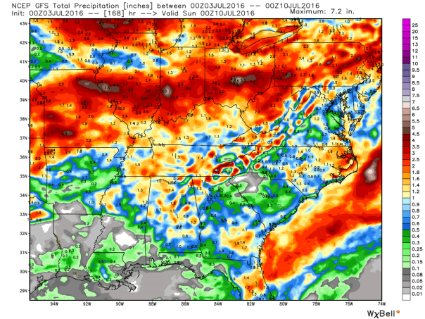 GFS Model Total Rainfall Forecast Next 7 Days
