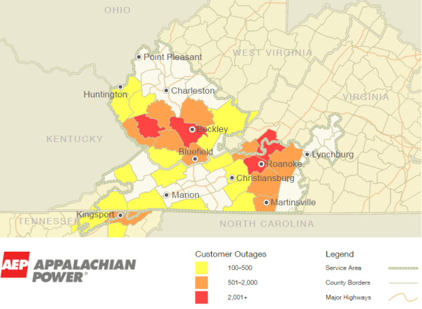 AEP Power Outage Map At 11:03 PM Friday - July 8, 2016