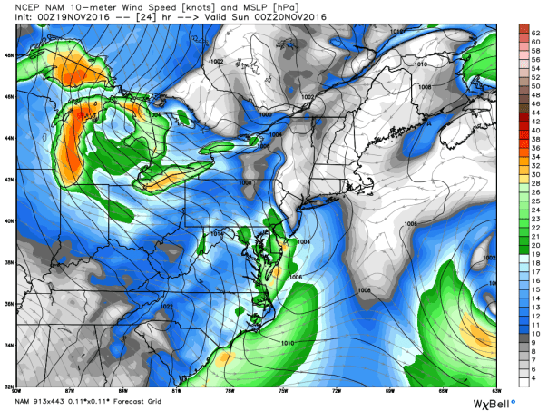 NAM 12 KM Model 10 Meter Wind Streamlines & MSLP
