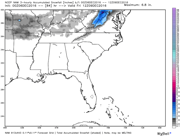 NAM 12 KM Model Total Snowfall Forecast