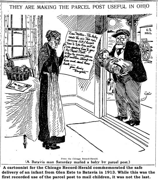 A cartoonish for the Chicago Record-Herald commemorated the safe delivery of an infant from Glen Este to Batavia in 1913.