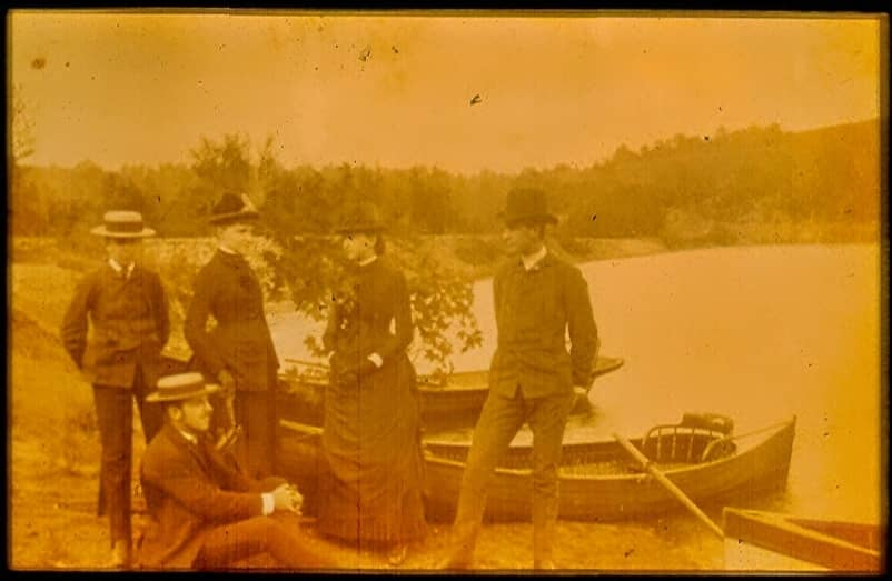 South Fork Fishing and Hunting Club members by Lake Conemaugh in 1879,
