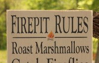 Firepit Rules Sign Typography -Wood Sign- Outdoor Decor ...