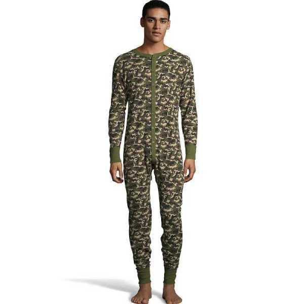 Hanes 125448 Men' Camo Waffle Knit Thermal Union Suit