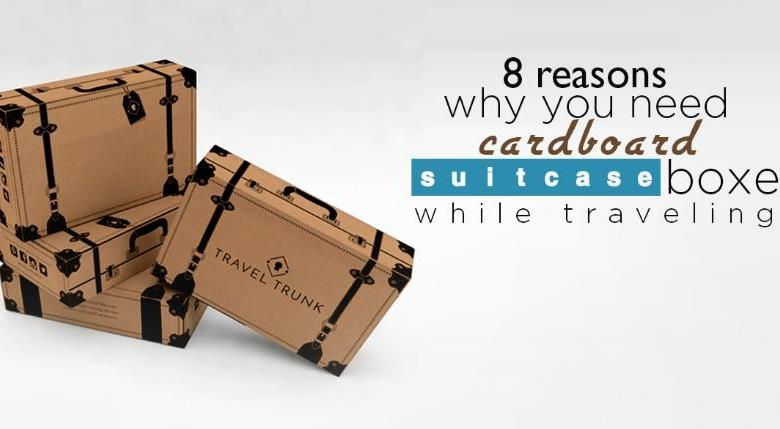 cardboard suitcase boxes while traveling