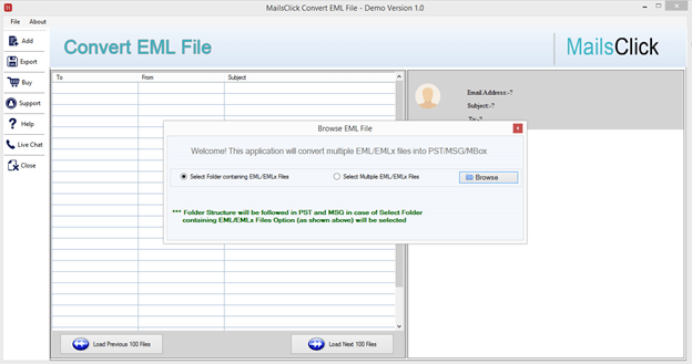 Export EML Database to PST, MSG and MBOX with ease