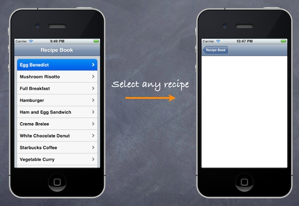 Receipe App With Empty Detail Controller