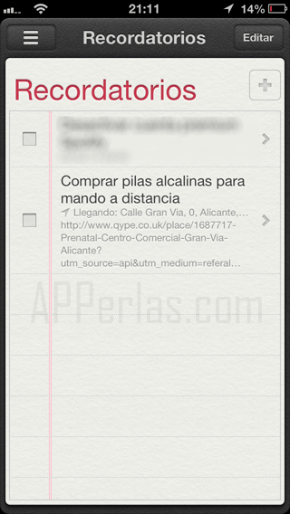Recordatorios iPhone