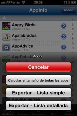 Listados de Appinfo