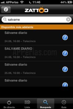 Búsqueda de televisión en el iPhone