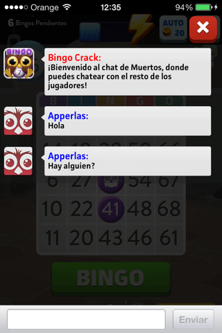 Chat grupal en Bingo Crack