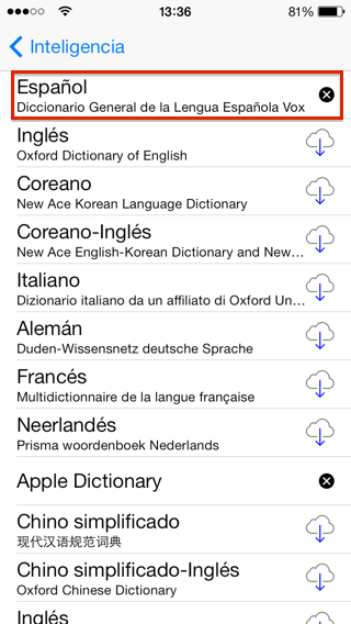 Diccionarios del iPhone, idiomas disponibles