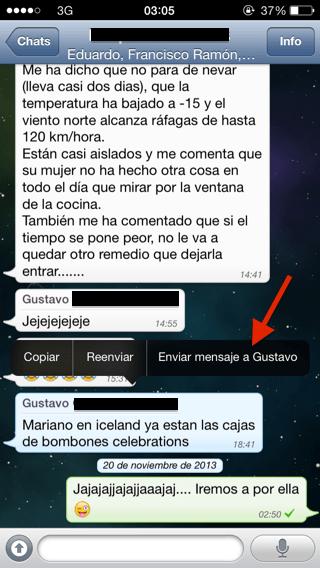enviar mensajes privados en Whatsapp