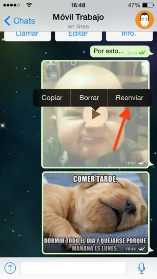 reenviar vídeos, imágenes y mensajes en Whatsapp