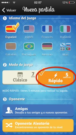 partidas rápidas en apalabrados iPhone