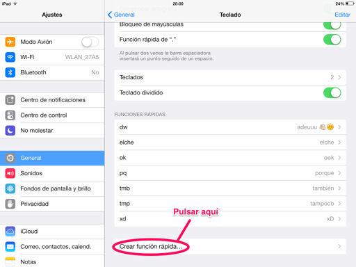 Crear funciones rápidas en el iPhone, iPad y iPod touch