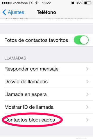 bloquear contactos en iPhone, iPad
