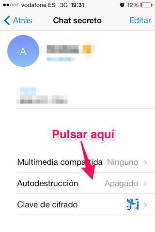 iPhone activar autodestrucción en Telegram